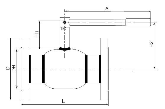 Основные размеры крана шарового Балломакс Ду 65-100 фланцевого
