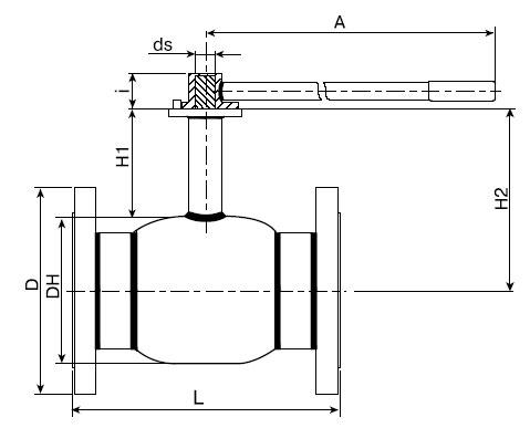 Основные размеры крана шарового Балломакс Ду 125-500 фланцевого