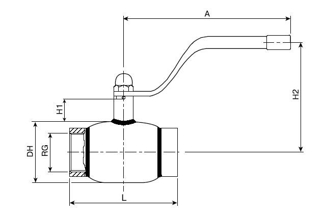 Основные технические размеры резьбового стального шарового крана БАЛЛОМАКС