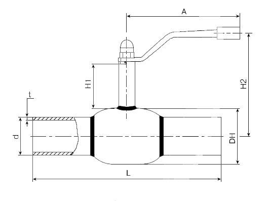 Основные размеры стальных шаровых кранов сварных БАЛЛОМАКС Ду 10-50