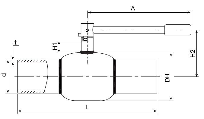 Основные размеры стальных шаровых кранов сварных БАЛЛОМАКС Ду 65-100