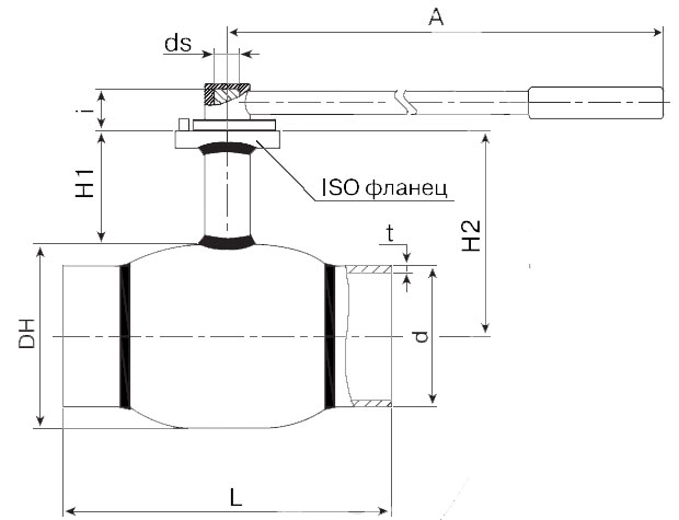 Основные размеры стальных шаровых кранов сварных БАЛЛОМАКС Ду 125-500