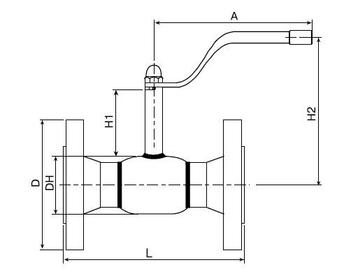 Основные размеры крана шарового Балломакс Ду 15-50 фланцевого