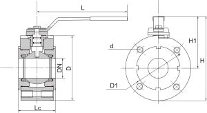 Габаритные размеры и масса газовых кранов ГШК (межфланцевых)
