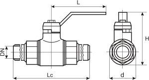 Габаритные размеры и масса газовых кранов ГШК (под приварку)
