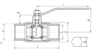 Краны шаровые газовые LD муфтовые полнопроходные схема